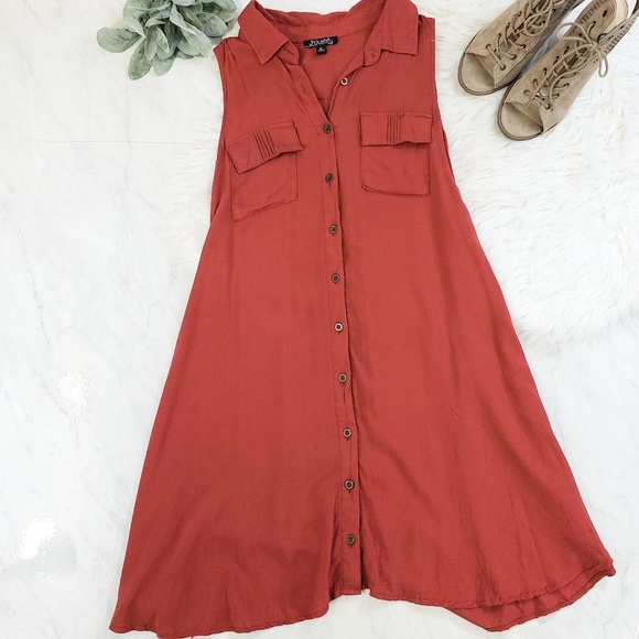 J for Justify Dresses & Skirts - Justify Burnt Orange Rust Sleeveless Shirt Dress